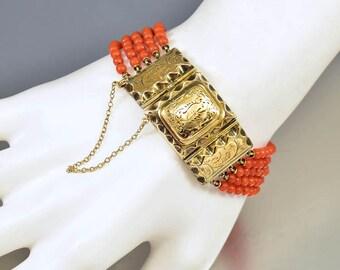 Antique Gold Coral Bracelet | Victorian 14K Gold Locket Bracelet | Engraved Gold Locket | Natural Coral Beads Bracelet | Antique Jewelry
