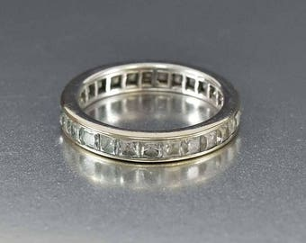 Vintage 14K Gold Band Ring | Gold Zircon Ring | Eternity Wedding Ring Band | Wide White Gold Band | Vintage Wedding Ring | Pale Blue Stone