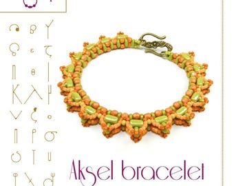 Beading tutorial / pattern Aksel bracelet with tile beads. Beading instruction in PDF – for personal use only