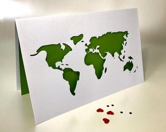 World Map Paper-cut Card