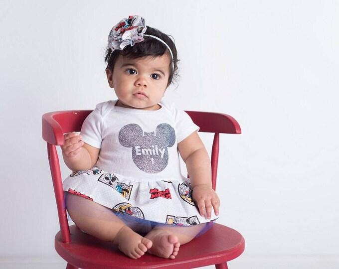Baby Girl Outfit - Glitter Shirt - Personalized - Baby Shower - 1st Birthday Dress - Baby Girl Dress - Shower Gift - newborn girl to 24 mo