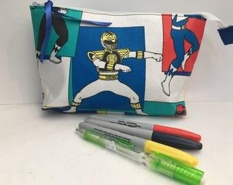 """Power Rangers Zipper Pouch 9"""" x 5"""" x 2.5"""""""