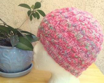 Handspun Cable Beanie. Salmon-Colored Variegated Knit Hat. Knit Wool Beanie Hat. Light Salmon. Dark Salmon. Light Green. Light Blue. Gift.