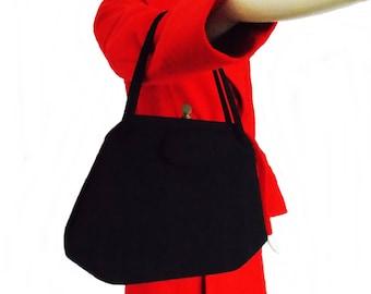 vintage 1950s black wool felt purse/40s  50s hand bag/ 1940s WWII swing purse / rockabilly purse