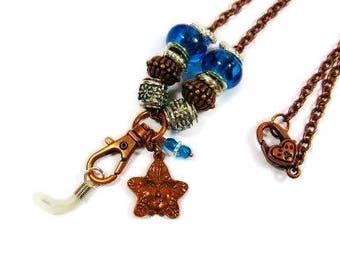 Eye Glass ID Badge Lanyard copper, aqua, silver. Copper chain
