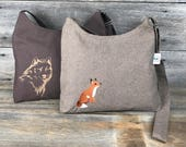 Custom Order - Recycled Handmade Sweet Satchel Cross Body Sling Purse - Brown Mix with Embroidered Fox