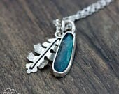 Rose Cut Labradorite and Oak leaf charm necklace - Realm  Series -