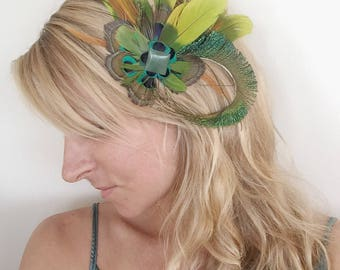 Cruelty Free Feather Fascinator, Hairpiece, Hair Clip, Hat Clip, Wedding, Festival, Renaissance, Kentucky Derby