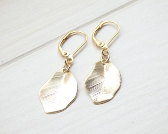 Small Golden Leaf Earrings