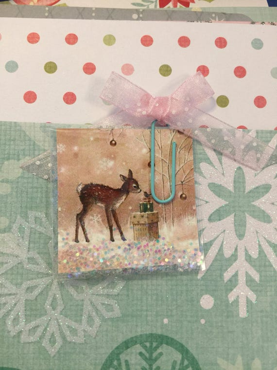 "Shaker Planner Card Vintage Style Reindeer and Bird-2""x2"""