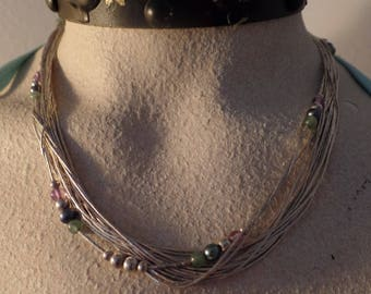 Liquid Sterling Silver 16 Strand Necklace with Semi-Presious Beads. Marked 925