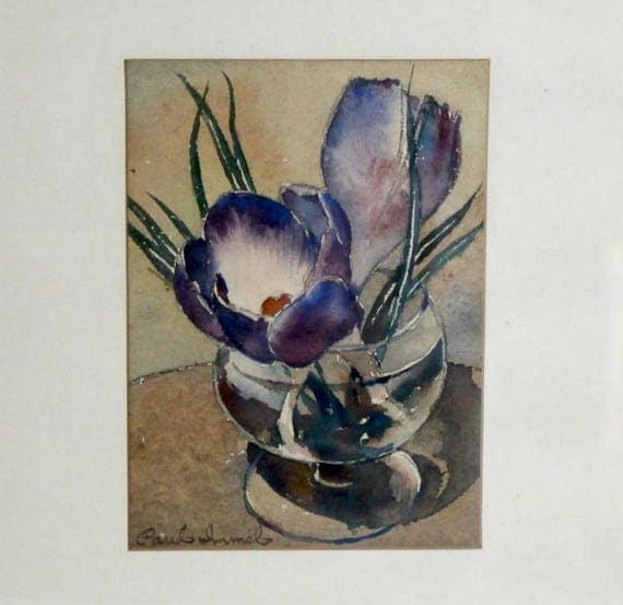 Paul Immel Signed Original Watercolor Painting, Blue Purple Floral in Glass, Framed and Matted