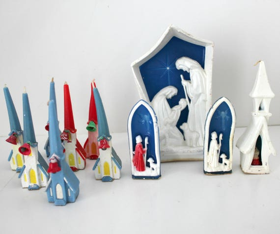 11 VIntage Gurley Candles, Christmas Nativity Scene and Churches
