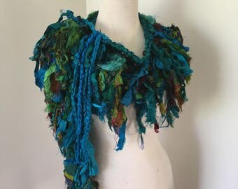 Deep blues and green Recycled silk hand knitted boho tattered rag scarf