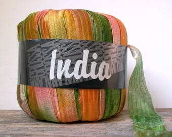 lana grossa india ribbon yarn . melon patch 12 . italian ribbon yarn . 60yd 55m . cantaloupe orange peach honeydew green wide ribbon yarn