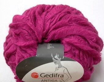 Gedifra Antiga mohair blend ribbon eyelash yarn . fuchsia 3145 . 43yd . chunky wool mix looped ribbon bulky hot pink knitting yarn