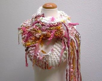 cosmos. handknit art yarn scarf . winter flower garden knit wool fiber art scarf . curly locks sari silk ribbons cream pink yellow orange