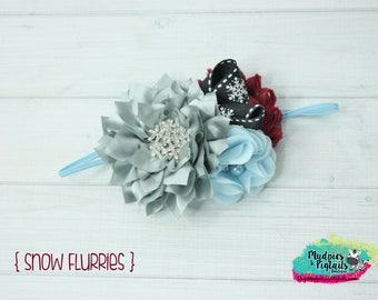 Winter baby Headband { Snow flurries } blue, burgundy silver, snowflakes, spring, summer, christmas holiday baby bow, photography prop