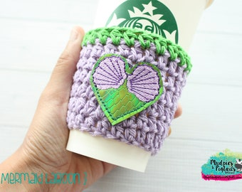 Crochet Coffee Cozy { Mermaid Lagoon } Sea Shells, Ariel Inspired striped, princess, under the sea, cup sleeve, knit mug starbucks bottle