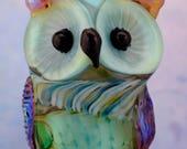 Flynn..... lampwork owl  bead............ sra