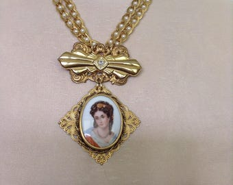 Limoges cameo necklace
