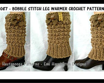 Legwarmer Crochet Pattern - 5 yrs to Adult Large, Women's Accessories, Boot Cuffs, Leg Socks, Girl Children, Winter Clothing, #2087, Bobble