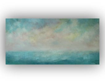 Abstract Seascape Painting on Canvas- 15 x 30 Ocean Sky and Cloud Oil Painting- Original Turquoise Yellow and Pink Palette Knife Art