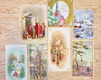 7 Vintage Christmas Church Cards, Religious Christmas Cards, 1950s-1960s Christmas Churches: Set #3