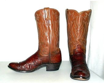 Brown Lizard Leather Justin brand cowboy boots size 10 A