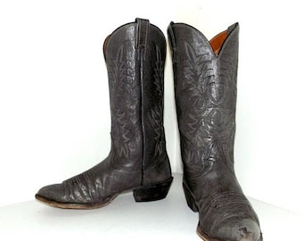 Grey Leather Nocona brand cowboy boots size 9.5 D or cowgirl size 11