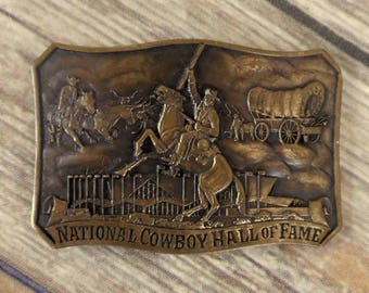 National Cowboy Hall Of Fame Belt Buckle Brass Western Covered Wagon Old West