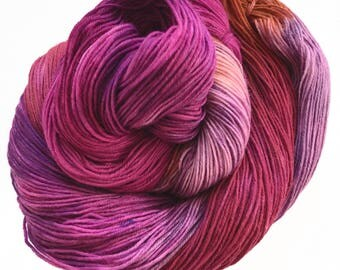 "Sock yarn, sw merino nylon, hand dyed, WANDER, 465 yds, ""Heart Throb"", self striping"
