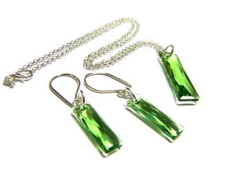 ON SALE Peridot Crystal Earring Pendant Set Peridot Green Earrings Peridot Green Pendant Top Selling Jewelry Women's Gifts Rectangle Crystal