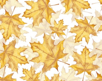 Fall Yellow Leaf Fabric - Yellow Marple Leaves By Gribanessa - Fall Tree Foliage Yellow Leaf Cotton Fabric By The Yard With Spoonflower