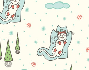 Snowy Cats Fabric - Snow Angels - Cream By Jaymehennel - Snowy Kitty Cat Winter Holiday Cute Cotton Fabric By The Yard With Spoonflower