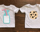 Cookies and Milk Matching Set,  You Choose Size/Sleeve Length, 0-3 mo to 12 yrs, baby shower sibling brother gift twins boy girl sister