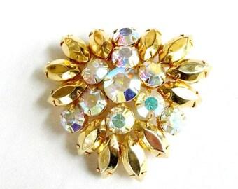 SALE Gold Rhinestones Brooch with Aurora Borealis Vintage Juliana Style