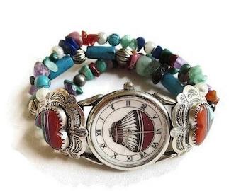 SALE Turquoise, Coral & Lapis Bracelet Watch Sterling Silver Vintage Southwest signed Q.T.