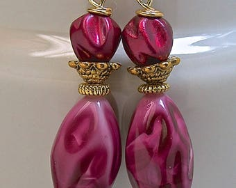Vintage Japanese Lucite Burgundy Pink Bead Dangle Drop Earrings, Gold French Ear Wires - GIFT WRAPPED