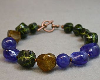 Vintage Japanese Lucite Nugget Lucite Bead Bracelet - Black, Lapis Blue,Green ,Gold Glitter Bead