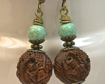 Vintage Chinese Buddha Dangle Drop Hedaio Bead Carved Wood Earrings, Vintage Chinese Turquoise ,Antiqued Brass Ear Wires - GIFT WRAPPED
