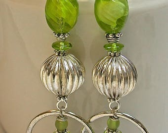 Vintage Japanese Lime Green Givre Glass Dangle Drop Bead Earrings,Vintage Silver Plated Bead, Silver Plated Flat Bead,Silver Plated Hoops