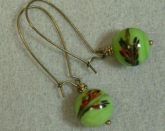 Vintage Japanese Lime Green Black Red Tombodama Glass Bead Earrings Dangle Drop, Antiqued Brass Long Kidney Ear Wires