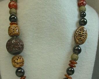 Vintage Chinese RARE LARGE Cinnabar Bead Black Knotted Necklace,Vintage Carved Bone, Black Onyx ,Vintage Carnelian Buddha Beads,Buffalo Horn