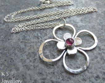 Pink Tourmaline Sterling Silver Flower Pendant - Four Petal Blossom - Handmade Metalwork Wirework Gemstone Jewelry - Garden Floral Petals