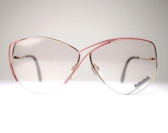 NOS Vintage Golden Metallic Big Eye Women's  Aviators S Frame Sunglasses