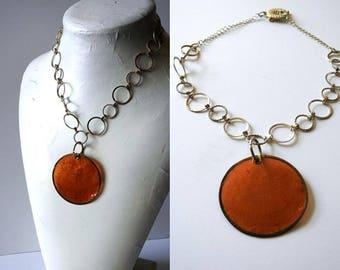 Simple Orange Pendant Chain Necklace