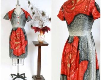 Memorial Weekend Sale - Vintage 1950s Dress - Incredible Custom Made Silk Shirtwaist 50s Dress with Massive Impressionist Macro Printed Rose