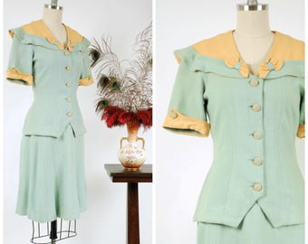 RESERVED ON LAYAWAY Vintage 1930s Suit - Late 30s Two Tone Colorblock Tailored Short Sleeve Skirt and Top Set in Mint Green and Yellow