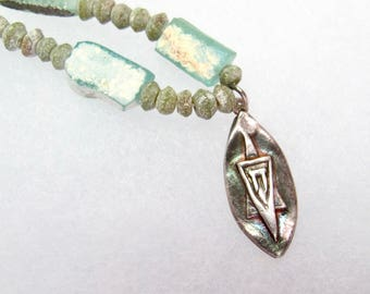 A fine silver Star of David with  ANCIENT ROMAN GLASS necklace/pendant.